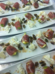 Prosciutto wrapped figs. Goat cheese. Chipotle pistachios. Lavender honey. Fig vinegar. Hawaiian red salt.