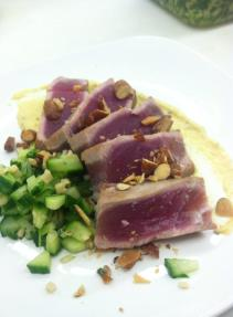 Ahi, Ginger-Cucumber Relish, Curry-Horseradish Aioli, Wasabi Soy Roasted Almonds.