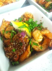 Shrimp and Red Quinoa Tabbouleh. Roasted Lemon Vinaigrette.