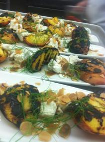 Grilled Peaches. Goat Cheese. Toasted Almonds. Tangerine Honey. Blis Elixer. Fennel Fronds.