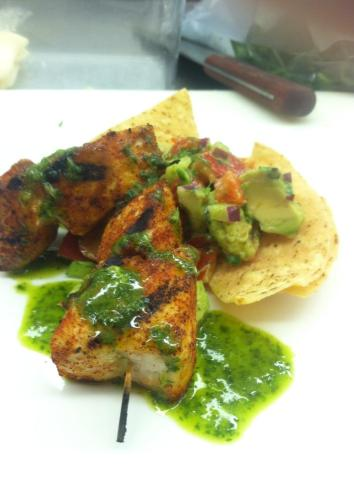Happy Shark Week! Blackened Mako Kabob. Baja Relish. Cilantro Vinaigrette.