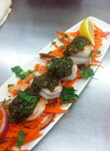 Chilled Texas Brown Shrimp, Charred Salsa Verde, Cumin Carrot Top Slaw.